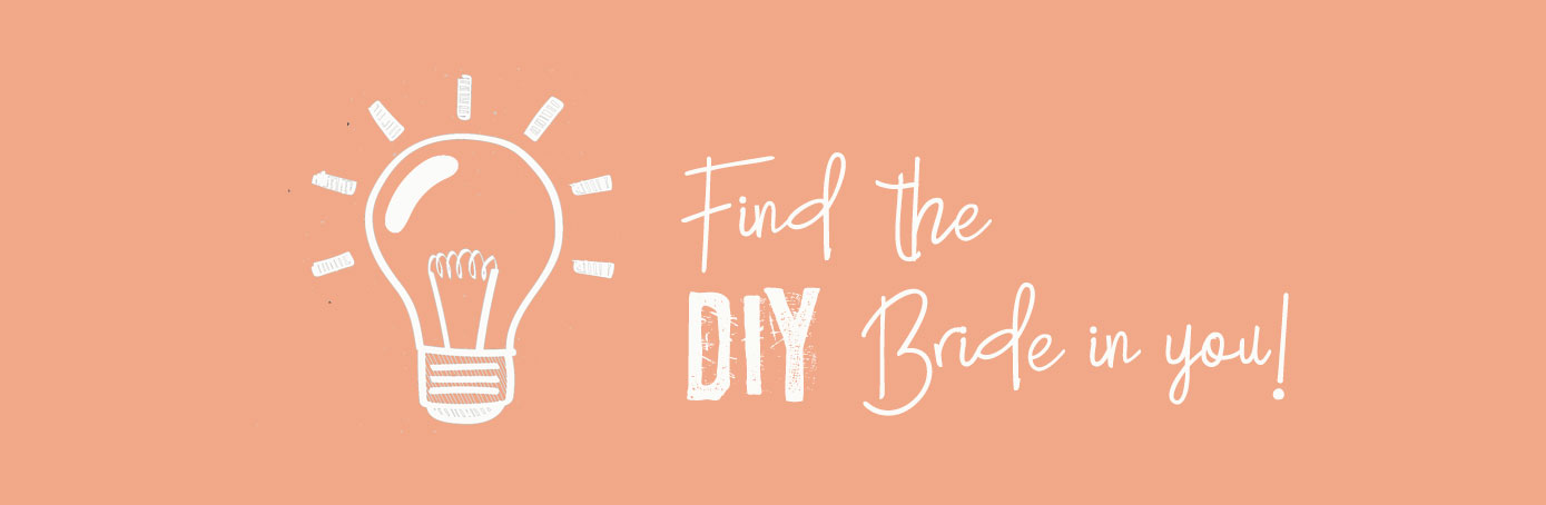 FInd The DIY Bride In You white font on peach colour background
