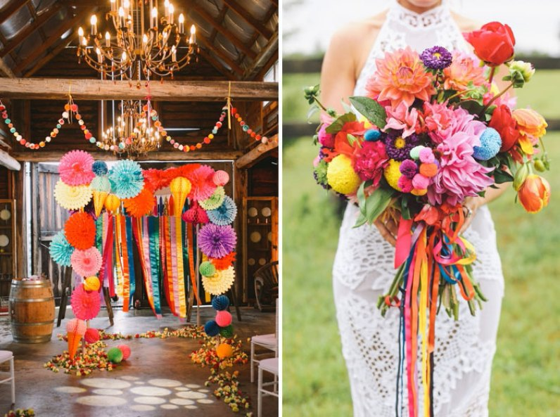 colourful wedding arch and bouquet
