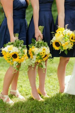 Bridesmaids holding Sunflower Wedding Flowers Bouquet