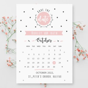 Pink calendar save the date design with polka dot hints