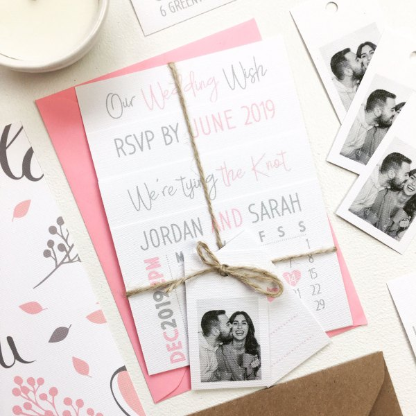 Main Picture Calendar Wedding Invitation Set With Luggage Tags