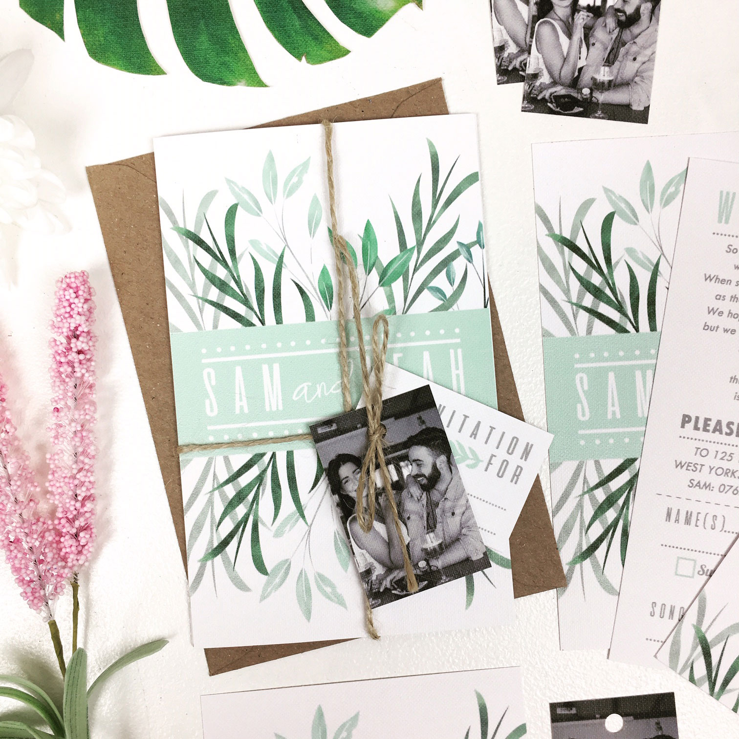 Green Botanical Wedding Invitation Set