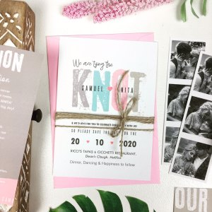 The Knot Colourful Wedding Invite With Rustic String and Black And White Pictures