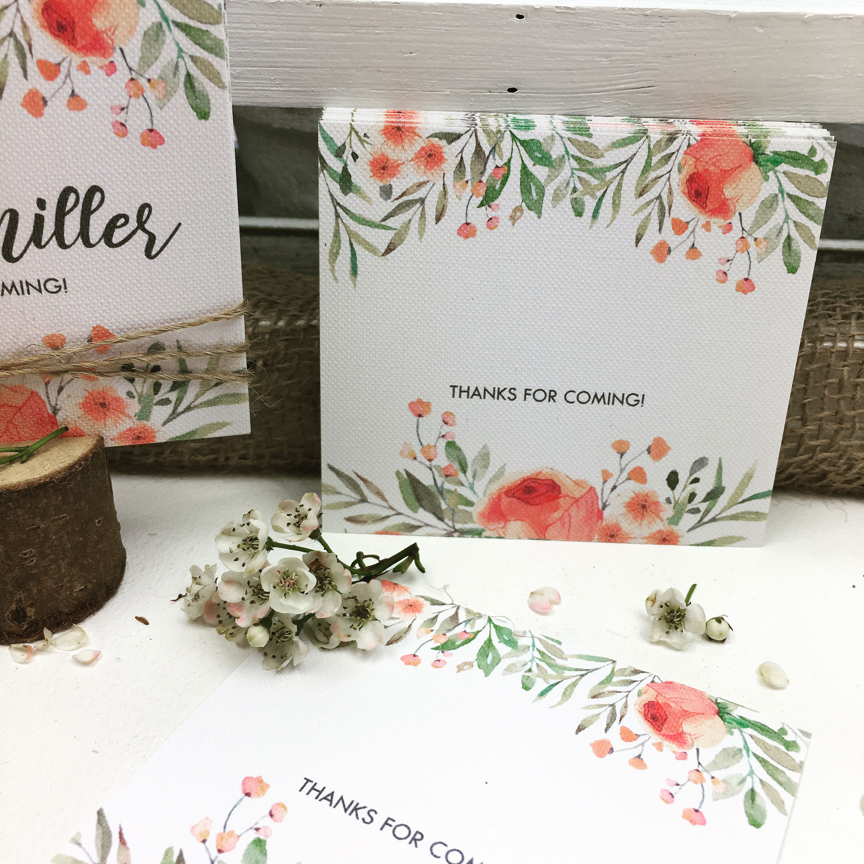 natural blank place card with flowers