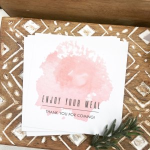 Watercolour Pink Place Card DIY no guest name