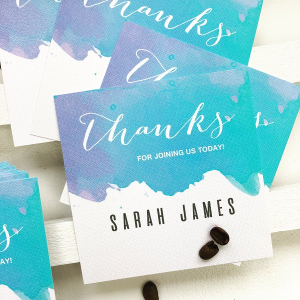 beach inspired personalised place card