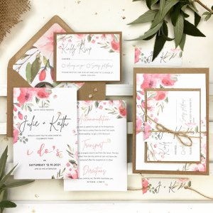 Pink peonies wedding invitation set with info card and rsvp card