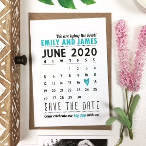blue save the date cards with calendar design