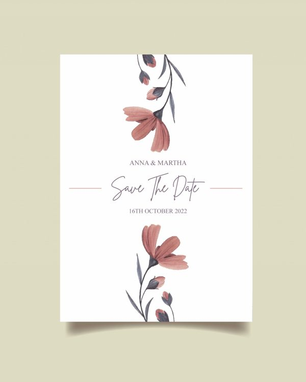 Watercolour Pink Flower Save The Date design