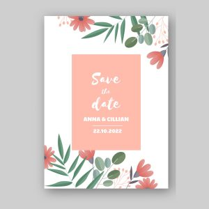 Pink flowers save the date card with white background