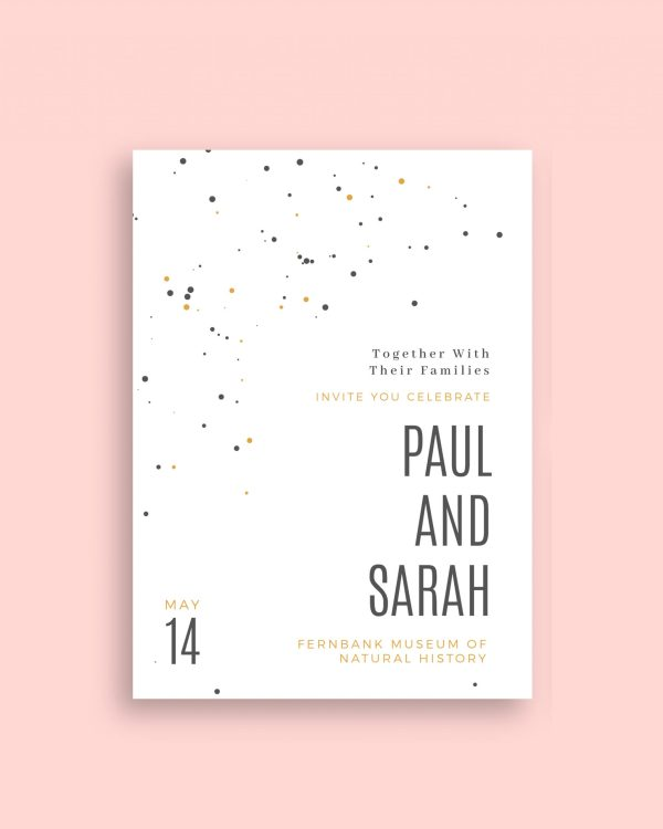 splash modern save the date card polka dot design