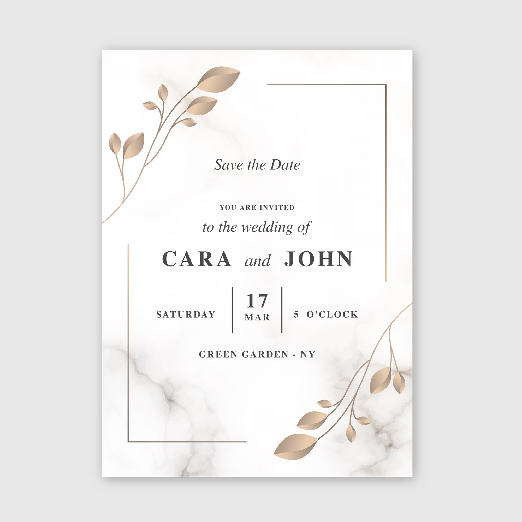 Save The Date with marble background and botanical detail