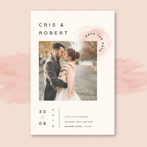 Elegant save the date with pink hints and photo of engaged couple
