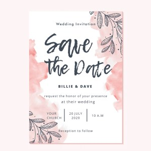Watercolour pink shades save the date cards