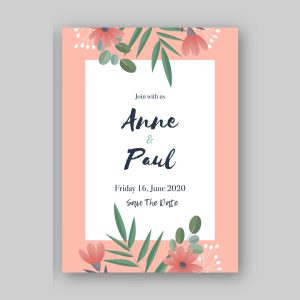 Pink flowers save the date card with pink background