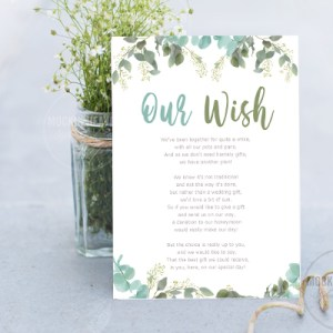 honeymoon wish poem with blue leaves design