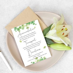 info card with eucalyptus leaves design in sage