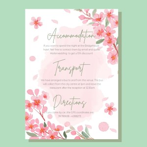 info card with wilk pink watercolour flowers background