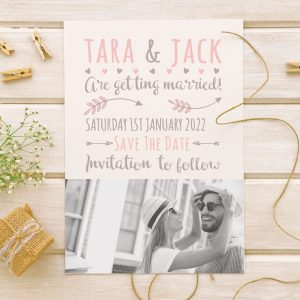 rustic wedding save the date card with black and white picture