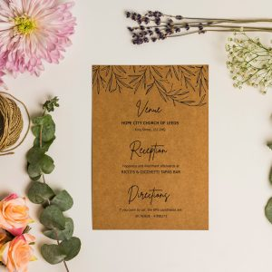 info card with sketchy rustic leaves