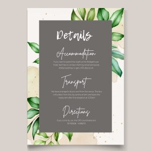 botanical design info card with brown banner
