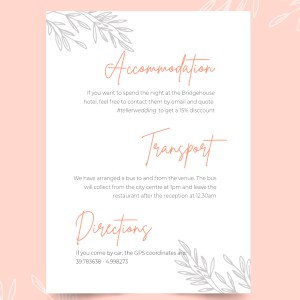 info card with sketchy leaves design
