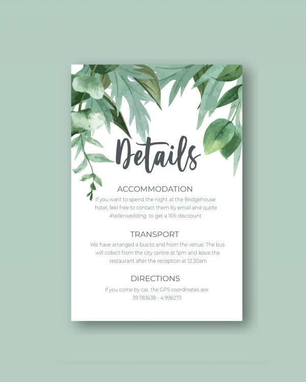 info card with green leaves design botanical