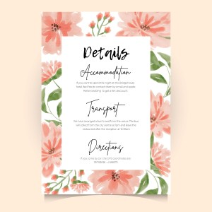 info card with watercolour spring flower background frame