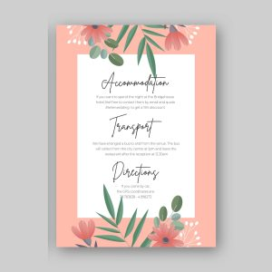 info card white background with wild flowers