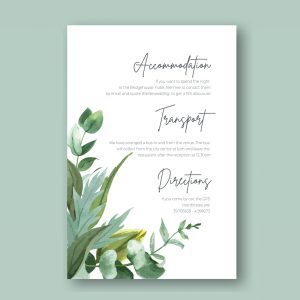 botanical leave design info card