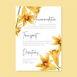 info card with yellow flowers background