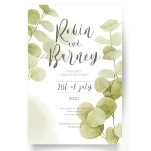 Minimal watercolour wedding invitation with eucalyptus design