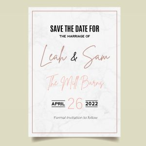 save the date card with marble background