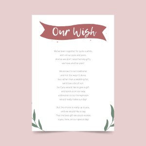 wish poem honeymoon card with flowers
