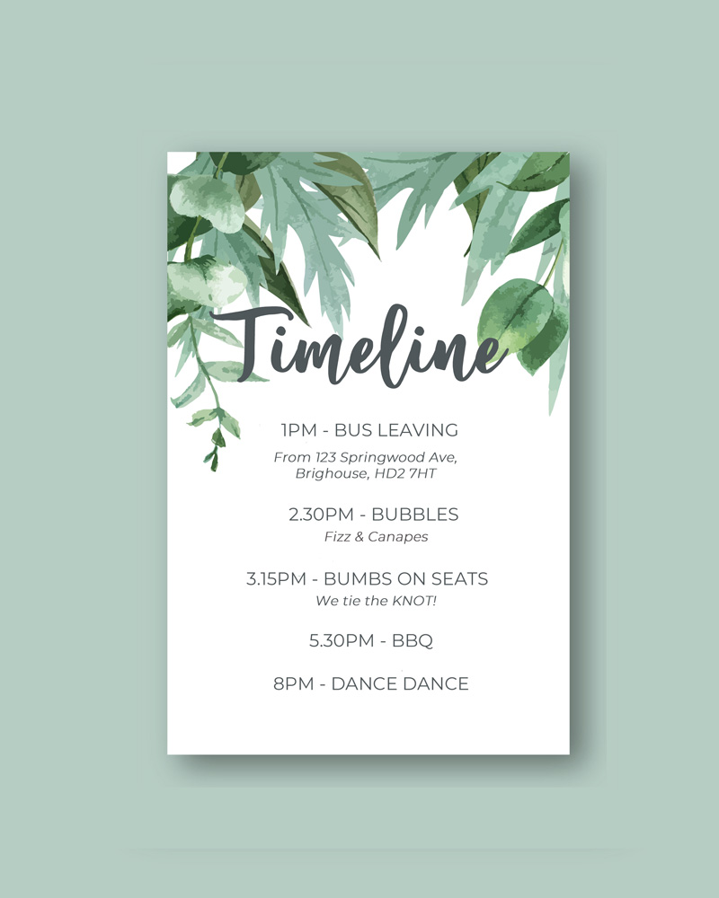 card with timeline schedule botanical green design