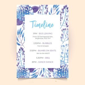 timeline card with blue leaves frame