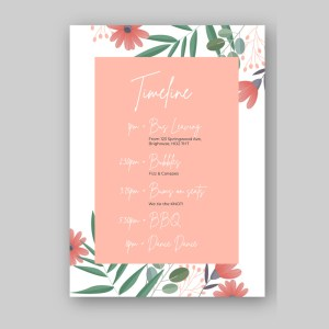 order of the day card with pink floral background