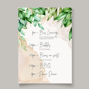 timeline card with botanical top detail and watercolour background