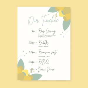 wedding order of the day card with green and yellow flowers design