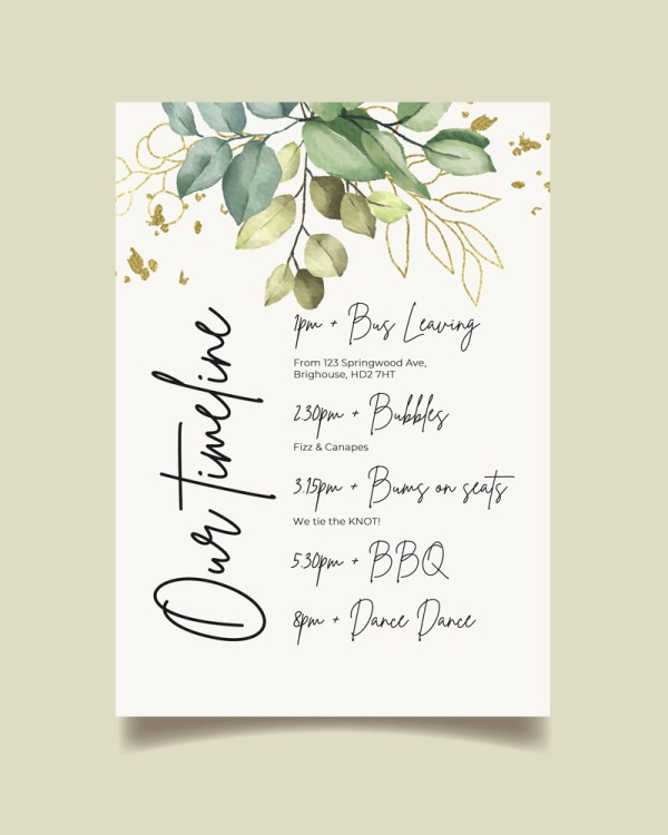 order of the day card with botanical green leaves