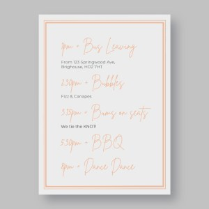 order of the day card in dusky pink with frame