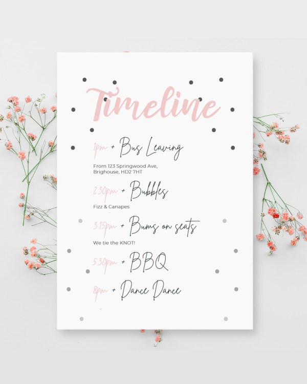 order of the day card with polka dot detail