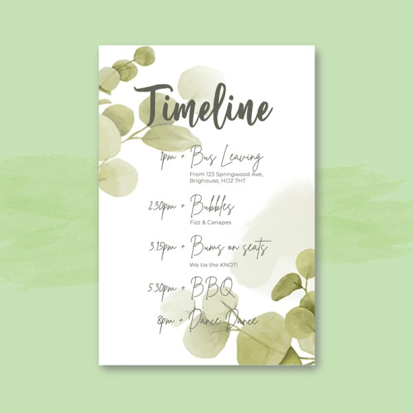 botanical eucalyptus leaves timeline card