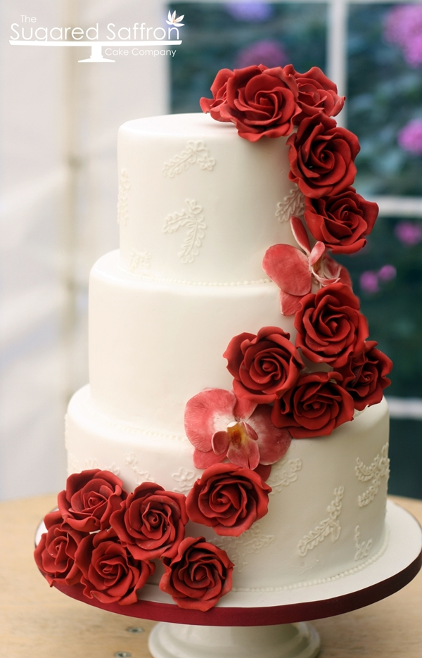 Wedding cake in hampshire   Wedding Cakes London Getting out of London is always nice  and we had a lovely scenic drive to  Hampshire to delivery this deep red cascade cake  The dark red roses and  orchids