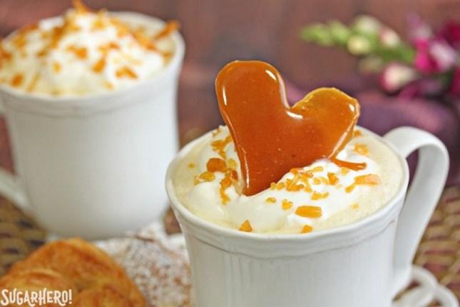 Creme Brulee White Hot Chocolate | From SugarHero.com