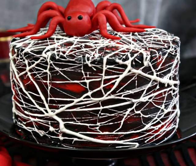 Red Velvet Marshmallow Spiderweb Cake With Red Candy Spider On Top From Sugarhero Com