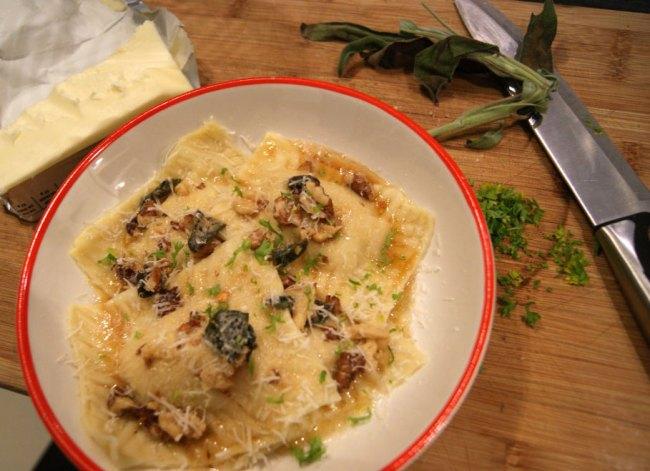 homemeade butternut squash ravioli