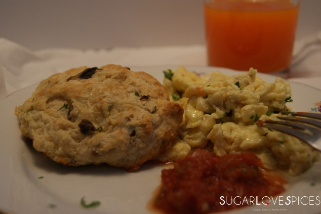 Applewood Cheddar, Chive, and Mushroom Biscuits with Fluffy Scrambled eggs