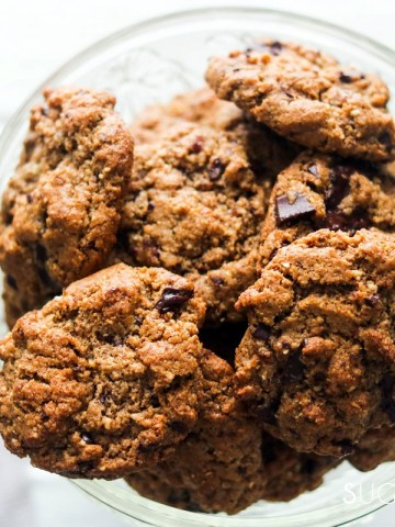 flourless almond butter chocolate chunk cookies-feature-bowl of cookies