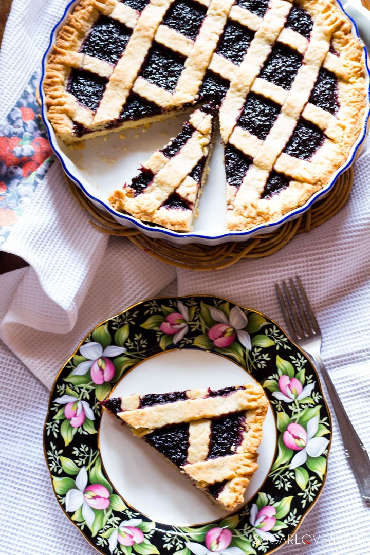 Crostata (Jam Tart)-in the plate in the pan